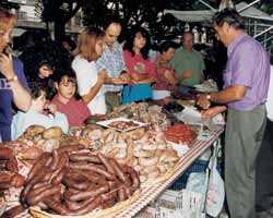 Berga street market, homemade sausages galore
