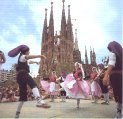 traditional Sardana dances in front of the Sagrada Familia