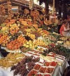 Fruit stand at the Boqueria market on the Ramblas ... edible creations worthy of Giuseppe Archimboldi