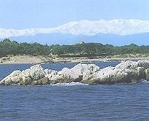 The Costa Brava, view from sea at Sant Marti/Empuries Greco-Roman site